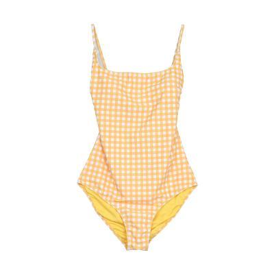 v-back design check pattern swimwear